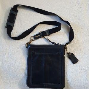 Black leather Coach cross body purse